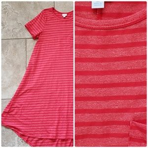 Carly dress lularoe M red coral stripes EUC